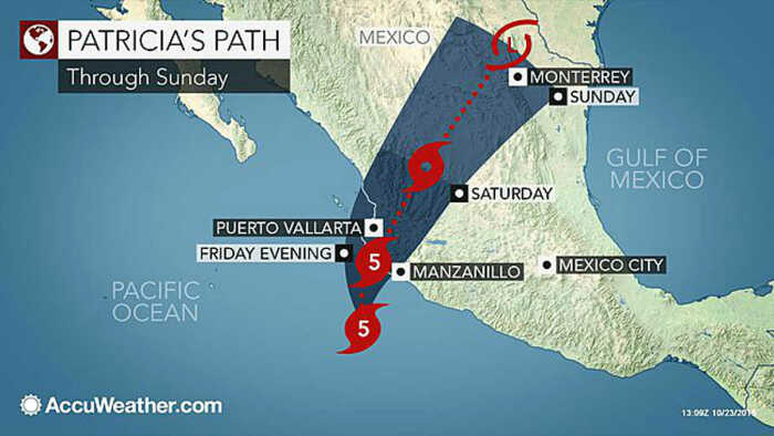 12 PM Eastern Time - Patricia's track is expanding to include Puerto Vallarta.