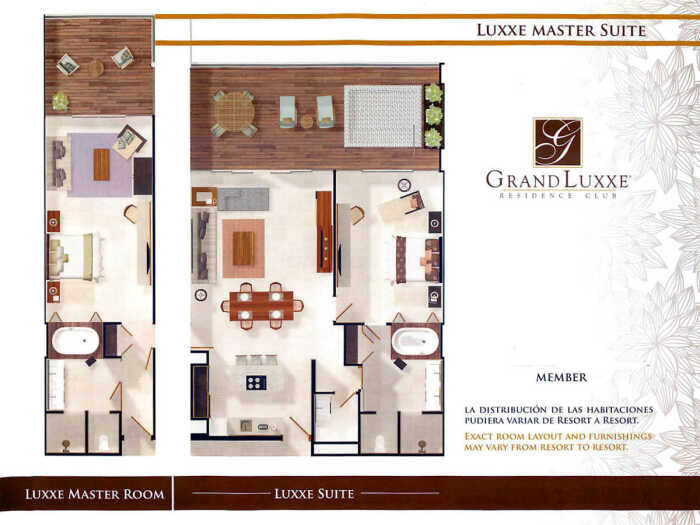 The Luxxe Master Suite (Condo) is made up of two separate units, that when used together make up a 2 bedroom unit.  The separate units are a Luxxe Suite (Condo) 1 bedroom suite and a Luxxe Master Room, which is a hotel-like room.  Floor plans for units in Nuevo Vallarta and Riviera Maya are the same.